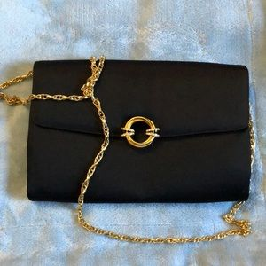 Rodo Black Satin Clutch